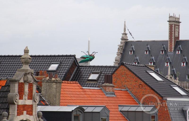 Вид на крыши Левена и на монумент с жуком-скарабеем